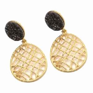 Black Round Druzy Earring