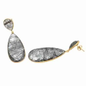 Black Rutile Big Gemstone Earring