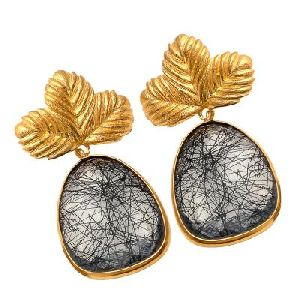Black Rutile Fancy Gemstone Earring