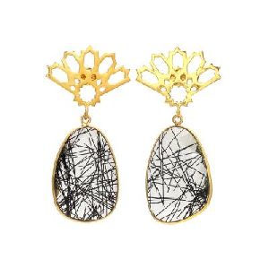 Black Rutile Quartz Earrings Gold, Black Rutile Quartz Earrings