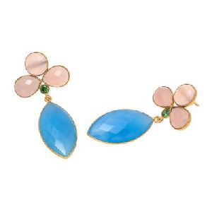 Blue And Pink Chalcedony New Fashion Earring