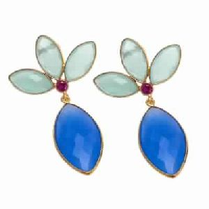 Blue Chalcedony And Aqua Chalcedony Earring