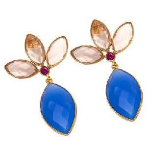 Blue Chalcedony And Champagne Quartz Earring