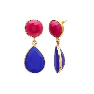Blue Chalcedony And Fuchsia Chalcedony Earring