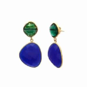 Blue Chalcedony and hydro Emrald Gold plated Earring