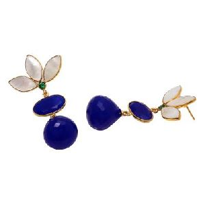 Blue Chalcedony And Pear Shell Earring