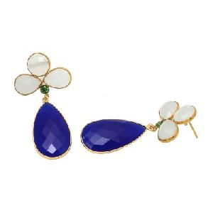 Blue Chalcedony And Pearl Shell Gemstone Earring