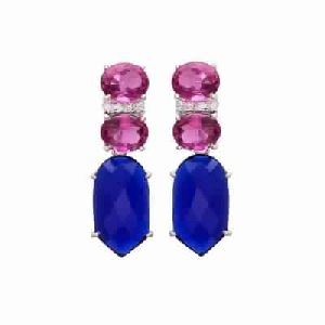 Blue Chalcedony and Pink Tourmaline Hydro gemstone Earring