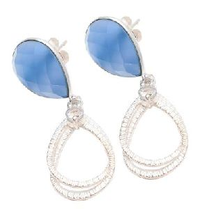 Blue Chalcedony Earring 925 Sterling Silver Earring