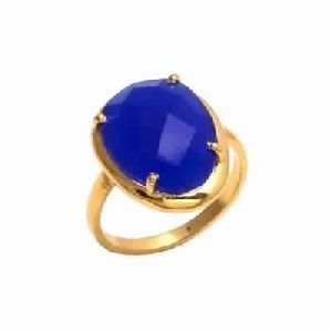 Blue Chalcedony Ring Gold Plated Ring-Sterling Silver Ring