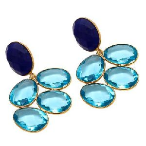Blue topaz And Blue Chalcedony Earring