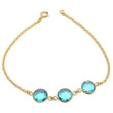 Blue Topaz Quartz Gemstone Bracelet