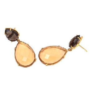Champagne Quartz And Smoky Quartz Earring