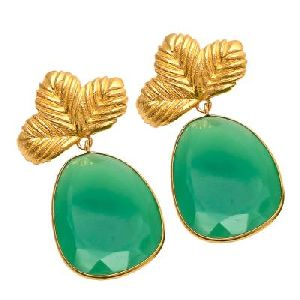 Chrysoparase Fancy Shape Green Gemstone Earring
