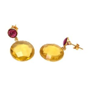 Citrine Quartz And Pink Tourmaline Earring