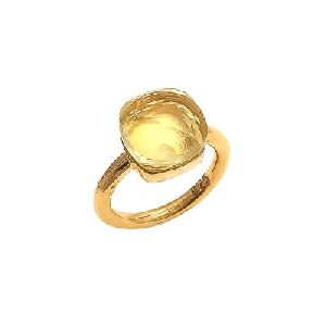 Citrine Quartz Cushion Shape Handmade Ring
