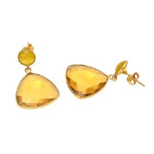 Citrine Quartz Trillion Shape Earring