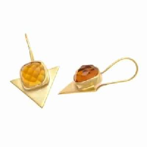 Citrine Quartz Trillion Shape Stud Earring