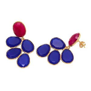 Dark Blue Chalcedony And Fuchsia Chalcedony Earring