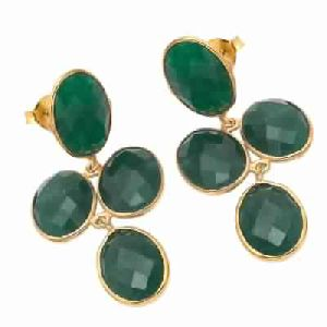 Dyed Emerald Green Earring
