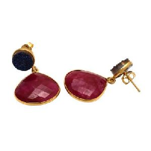 Dyed Ruby And Blue Druzy Earring