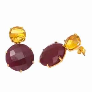 Dyed Ruby And Citrine Quartz Round Shape Earring