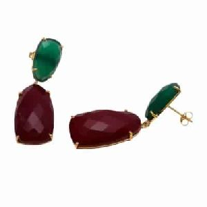Dyed Ruby And Green Onyx Fancy Shape Earring