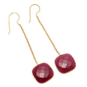 Dyed Ruby Big Stone Earring