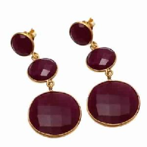 Dyed Ruby Mix Size Gemstone Earring