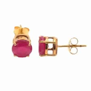 Dyed Ruby Round Tiny Stud Earring Vermeil Gold Earring