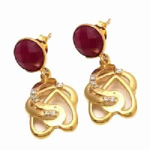 Dyed Ruby Small Round Stone Earring