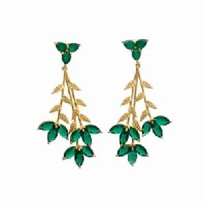 Emerald Hydro And Green Onyx Marquise And Leaf Shape Earring