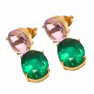 Emerald Hydro And Pink Quartz Oval Shape Fashion Earring