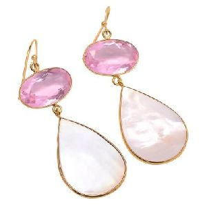 Freshwater Pearl Pear And Oval Shape Two Stone Earrings