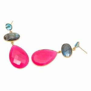 Fuchsia Chalcedony and Labradorite And Blue Topaz Earring