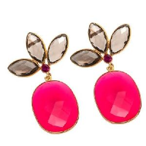 Fuchsia Chalcedony And Smoky Hydro Earring