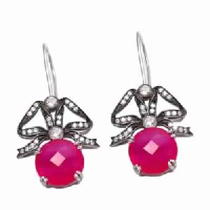 Fuchsia Chalcedony Fashion Earring