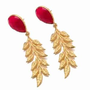 Fuchsia Chalcedony Leaf Earring Pear Shape Earring