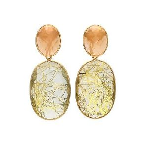 Golden Rutile And Peach Chalcedony Gemstone earring