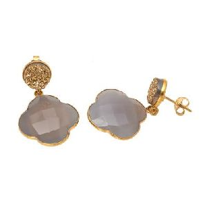 Gray Chalcedony And Golden Druzy Gemstone Earring