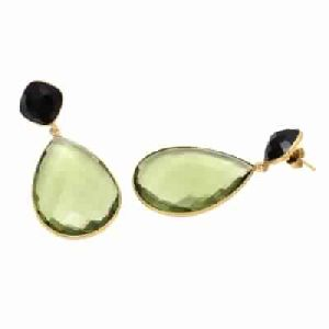 Green Amethyst Hydro And Black Onyx Earring