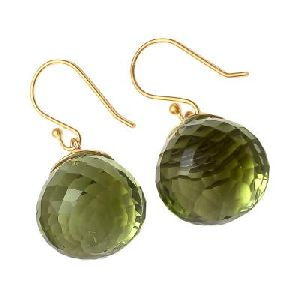 Green Amethyst Onion Shape Earring