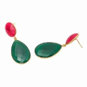 Green Onyx And Fuchsia Chalcedony Earring