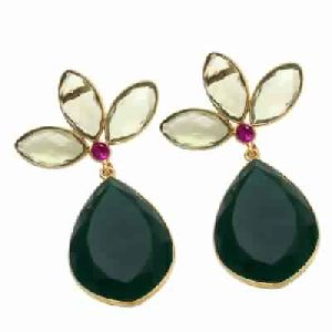 Green Onyx And Green Amethyst Earring