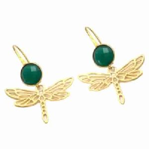 Green Onyx Ear Wire earring Gold Bezal Set Earring