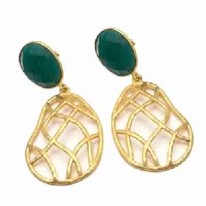 Green Onyx Oval Shape Silver Earring
