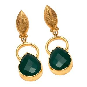 Green Onyx Pear Shape Earring