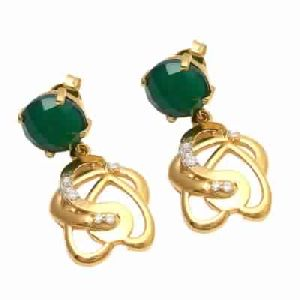 Green Onyx Small Round Stone Earring