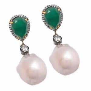 Green Onyx Zircon Earring