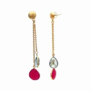 Hot Pink Chalcedony and Hydro Blue Topaz Earring